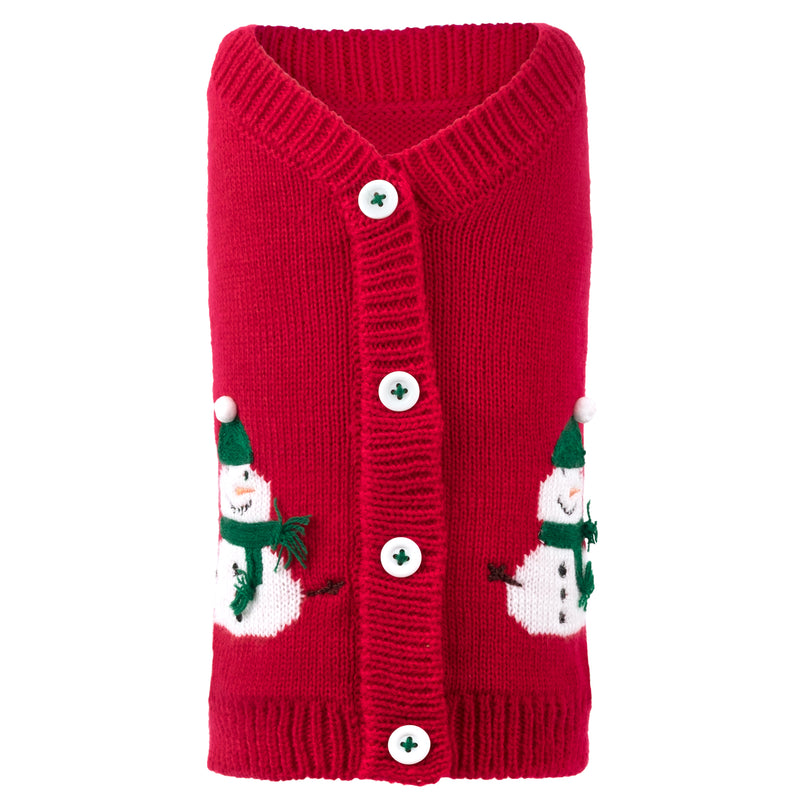 Snowman Christmas Holiday Cardigan Acrylic & Wool Soft Cozy Designer Pet Cat & Dog Sweater