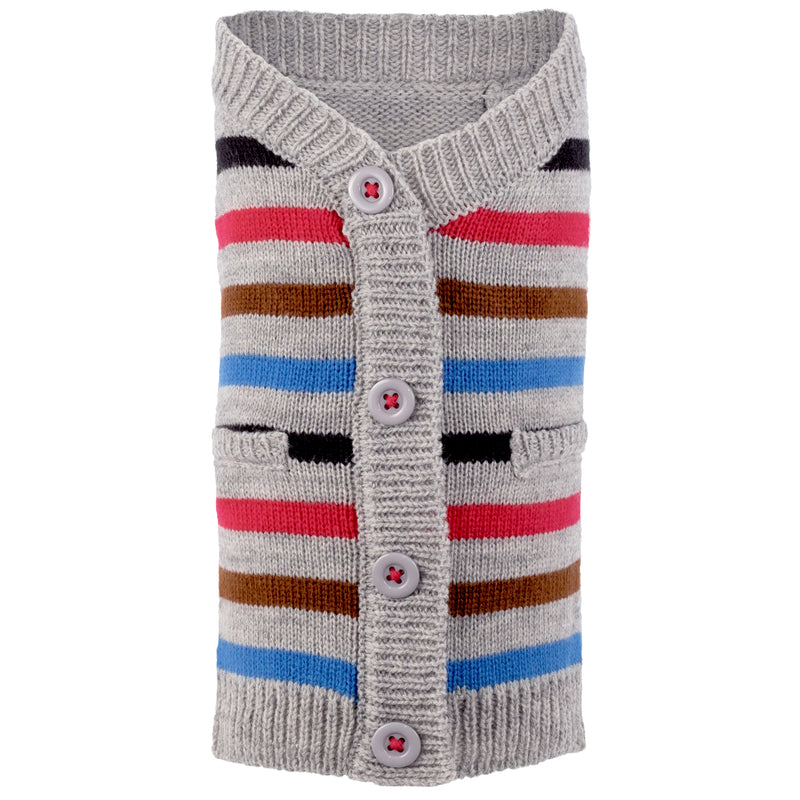 Acrylic & Wool Knit Ultra-Soft Warm Cardigan Designer Pet Dog Sweater - Blue Stripes