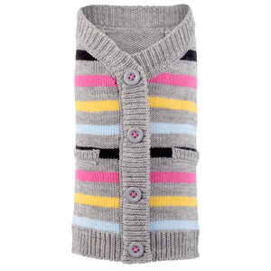 Acrylic & Wool Knit Ultra-Soft Warm Cardigan Designer Pet Dog Sweater - Pink Stripes