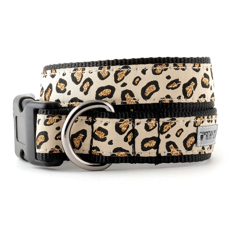 Cheetah Beige & Tan Woven Ribbon Nylon Durable Premium Pet Cat & Dog Collar