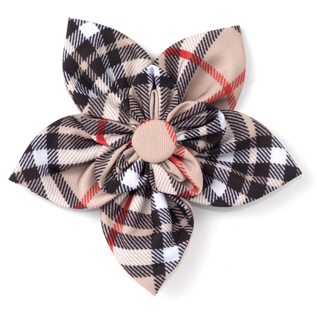 Tan Plaid Handcrafted Attach To Any Collar Flower Stylish Designer Pet Dog Collar Accessory