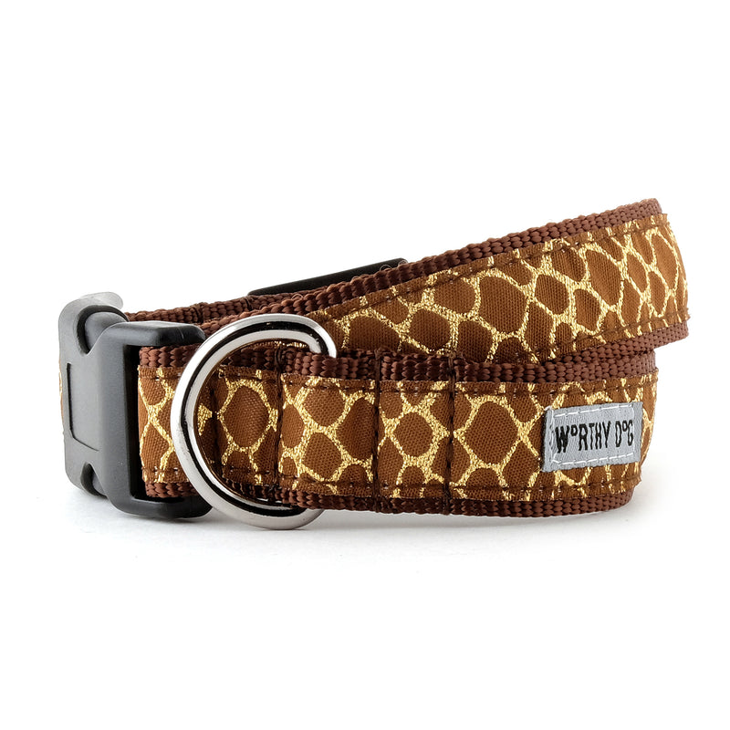 Giraffe Brown & Gold Woven Ribbon Nylon Durable Premium Pet Cat & Dog Collar