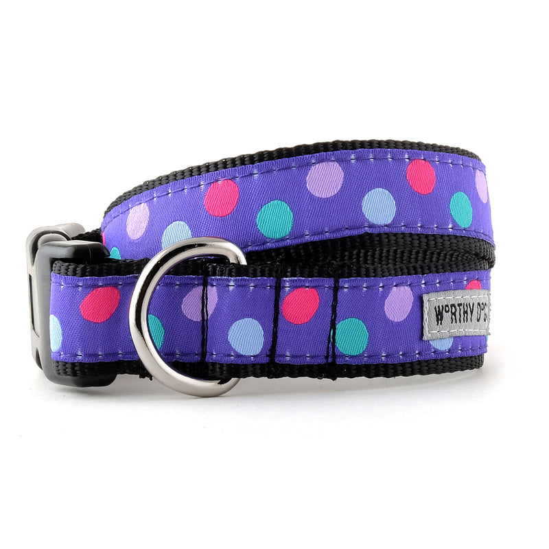 Gumball Polka Dots Purple Woven Ribbon Nylon Tough Durable Pet Cat & Dog Collar