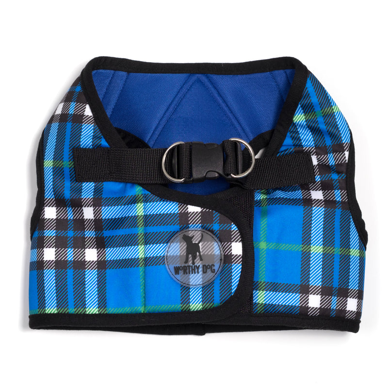 Printed Plaid Blue Sidekick Dog Harness