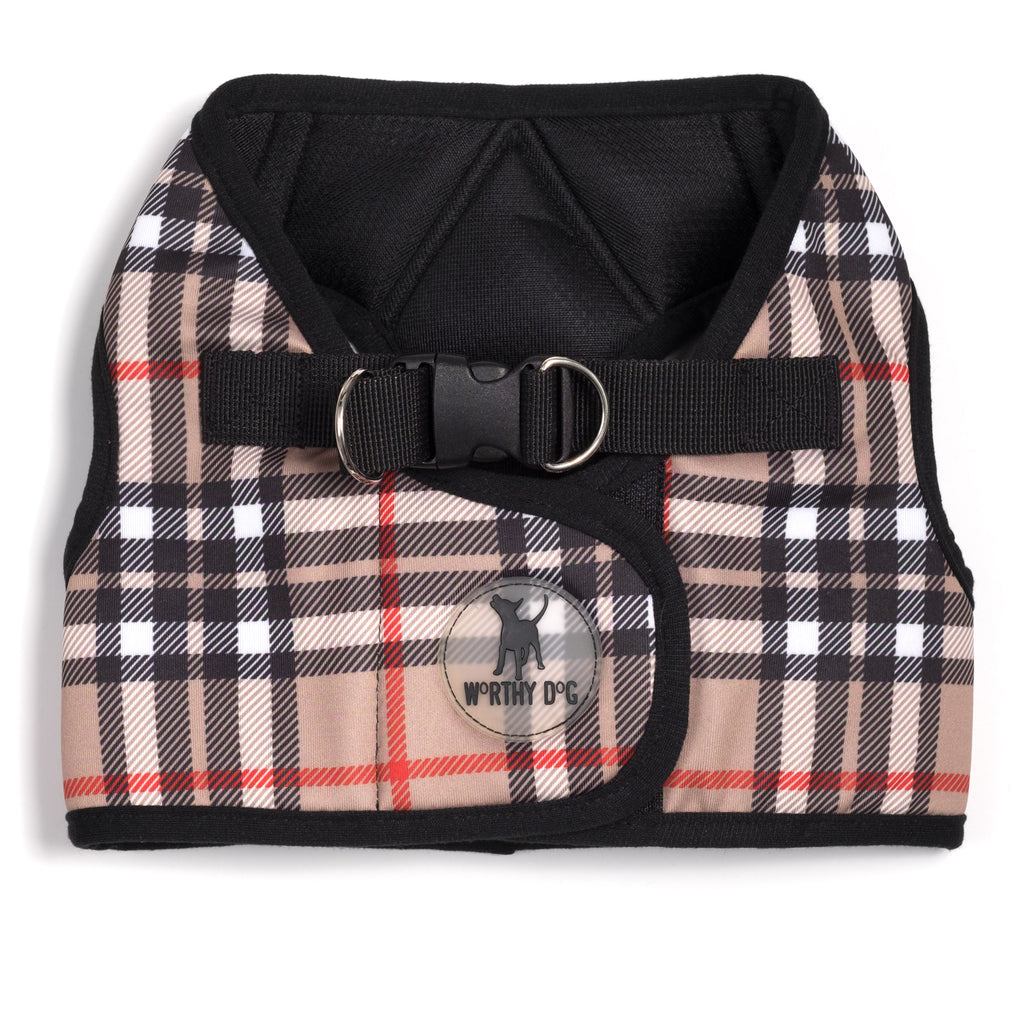 Printed Plaid Tan Sidekick Dog Harness