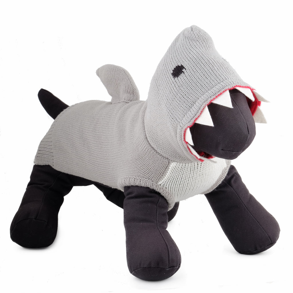 Double Knit Designer Hoodie 100% Ultra-Soft Acrylic Warm Pet Dog Sweater Costume - Jimmy The Shark