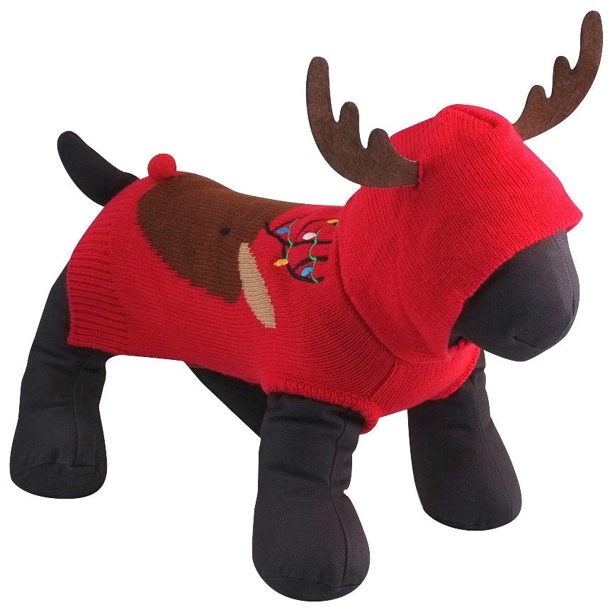 Double Knit Designer Hoodie 100% Ultra-Soft Acrylic Warm Pet Dog Sweater Costume - Rudy The Reindeer