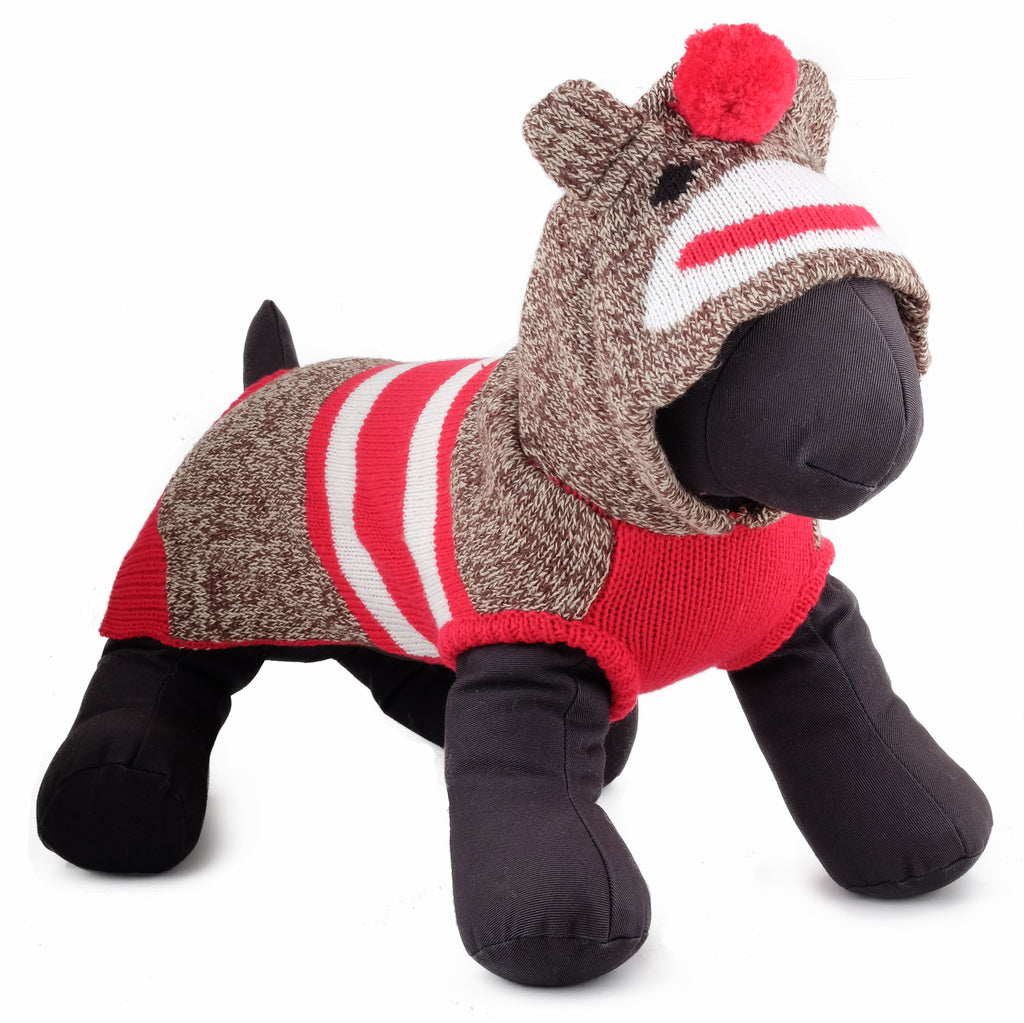 Double Knit Designer Hoodie 100% Ultra-Soft Acrylic Warm Pet Dog Sweater Costume - Sock The Monkey