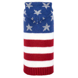 Double Knit Designer Hoodie Pet Dog Sweater - Stars & Stripes America