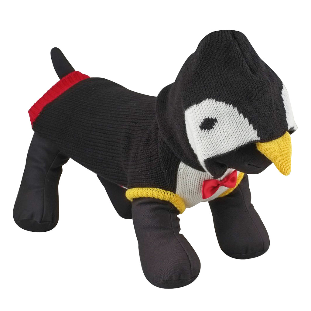 Double Knit Designer Hoodie 100% Ultra-Soft Acrylic Warm Pet Dog Sweater Costume - Tuxedo Penguin