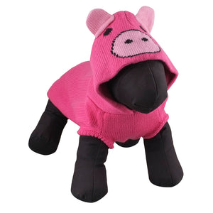 Double Knit Designer Hoodie 100% Ultra-Soft Acrylic Warm Pet Dog Sweater Costume - Wilbur The Pig