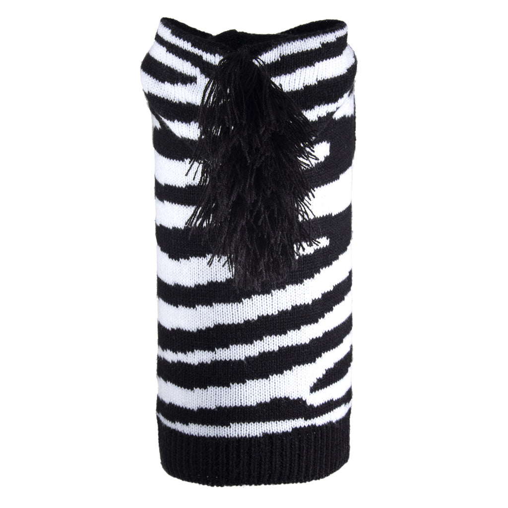 Double Knit Designer Hoodie 100% Ultra-Soft Acrylic Warm Pet Dog Sweater Costume - Zebra Stripes