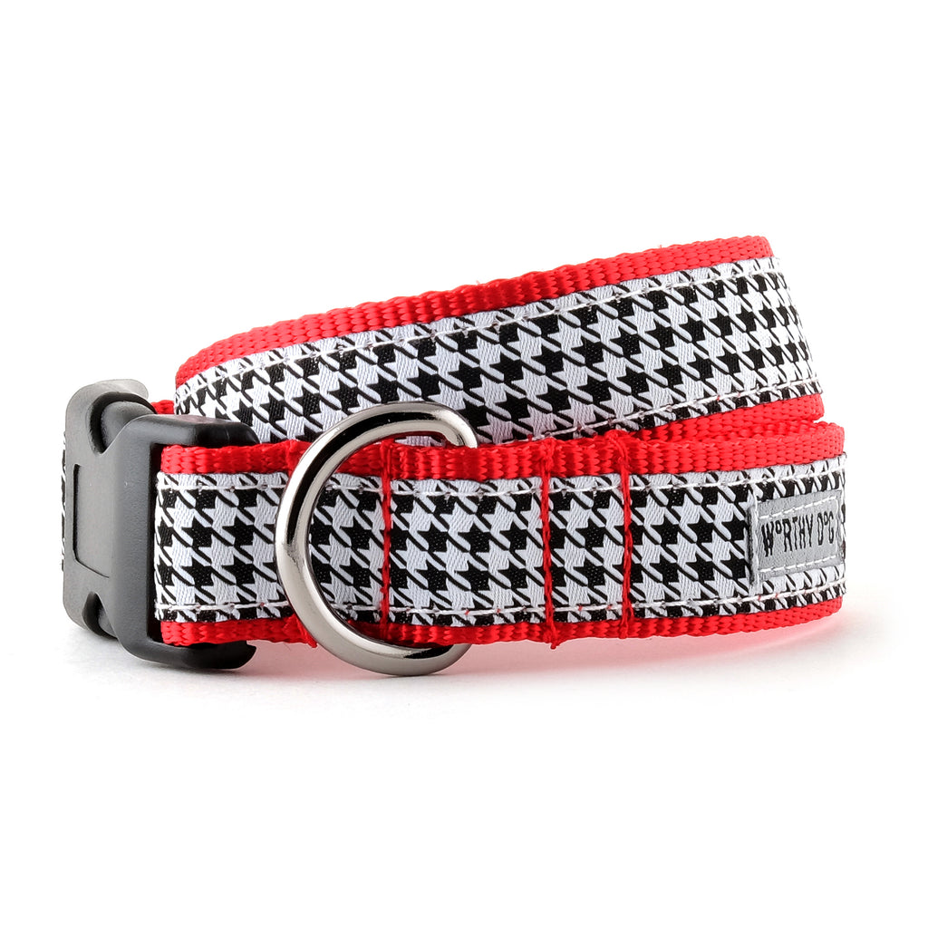 Houndstooth Black & White Woven Ribbon Nylon Pet Cat & Dog Collar