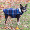 Alpine Blue & Grey Wind-Resistant Warm Bonded Sherpa Luxury Designer Dog Coat Jacket