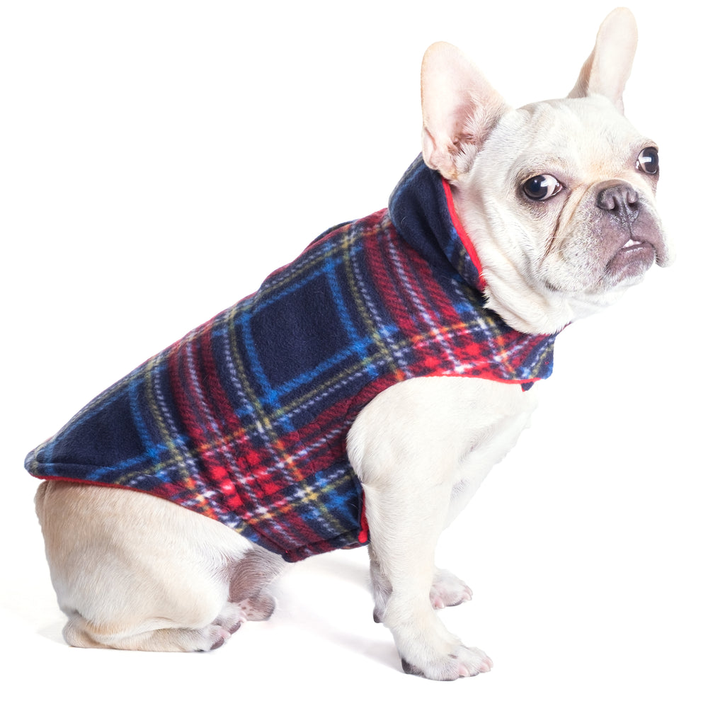 Fargo Red & Blue Plaid Warm Fleece Wind-Resistant Reversible Designer Dog Coat Jacket