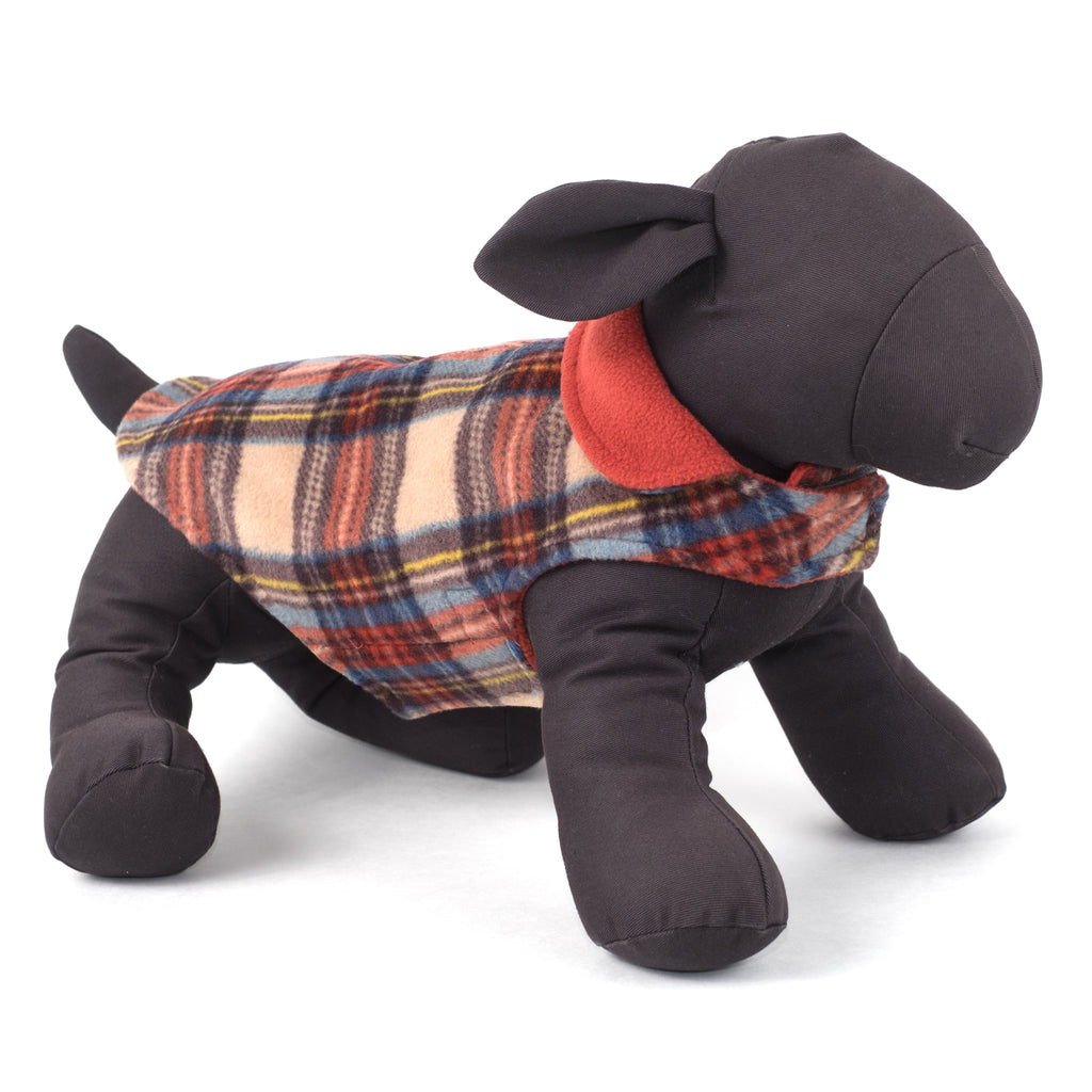 Fargo Tan & Orange Plaid Warm Fleece Wind-Resistant Reversible Luxury Designer Dog Coat Jacket