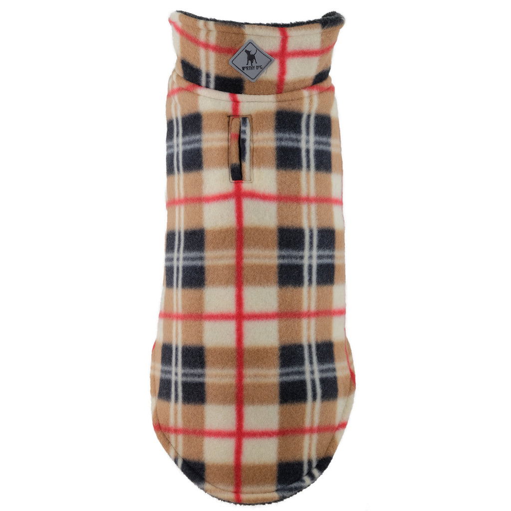 Fargo Tan & Red Plaid Warm Fleece Wind-Resistant Reversible Designer Luxury Dog Coat Jacket