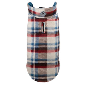 Fargo Tan & Teal Plaid Warm Fleece Wind-Resistant Reversible Luxury Designer Dog Coat Jacket