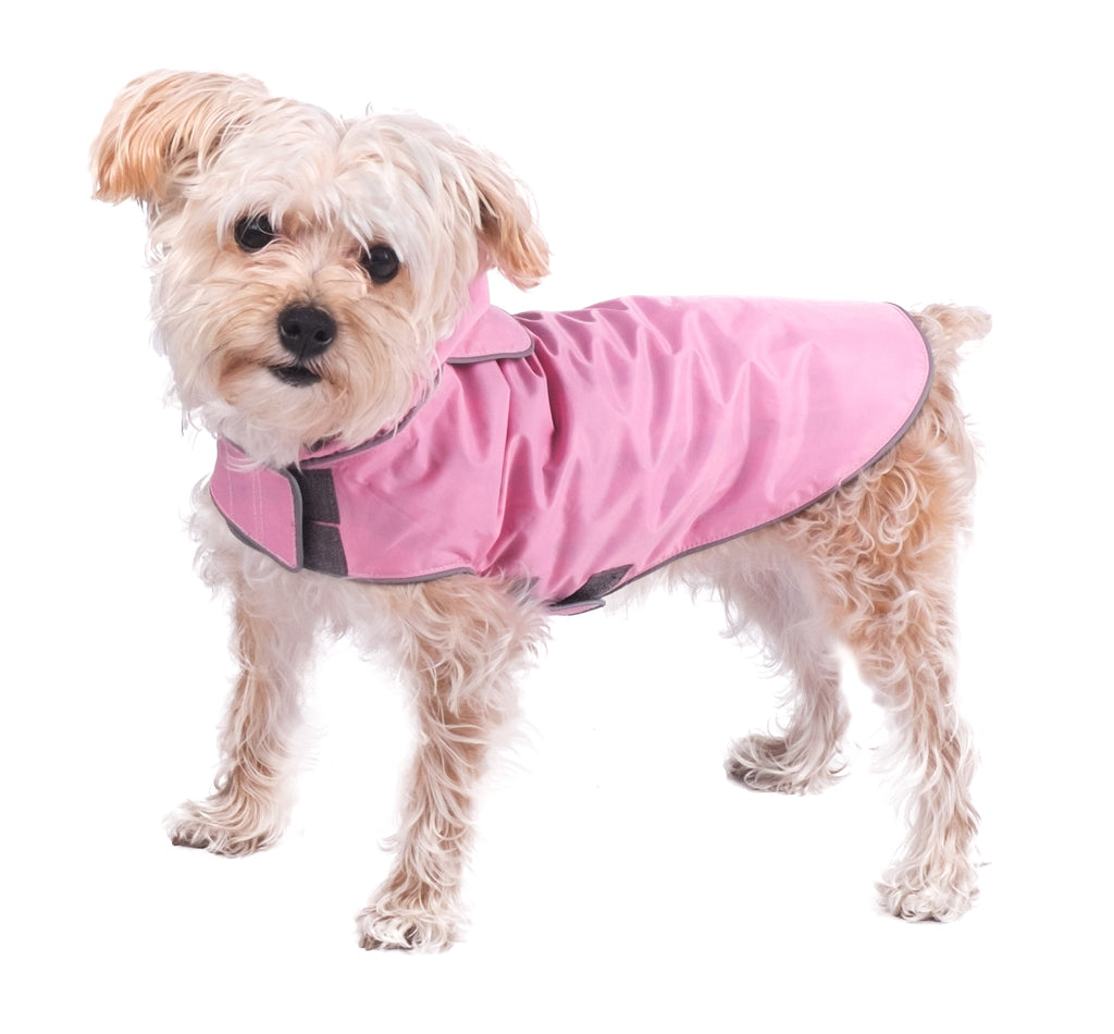 Seattle Slicker Pink Green Plaid Water-Resistant Dog Rain Coat Jacket