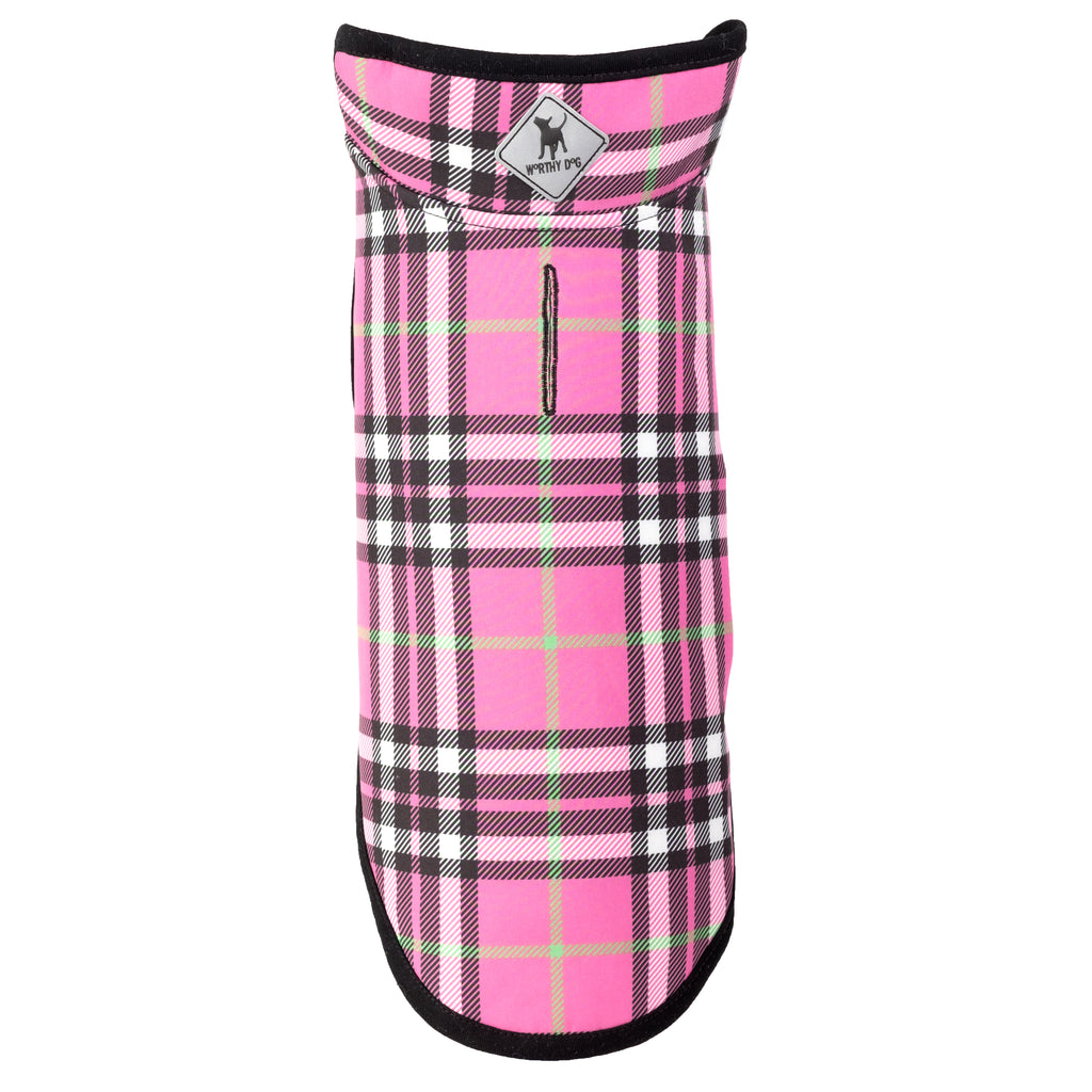 Soft Shell Pink Plaid Lightweight Warm Wind-Resistant Luxury Designer Dog Coat Jacket