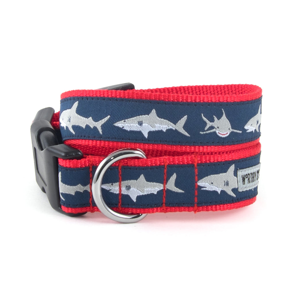 Jaws Sharks Navy Ocean Blue Woven Ribbon Nylon Durable Pet Cat & Dog Collar