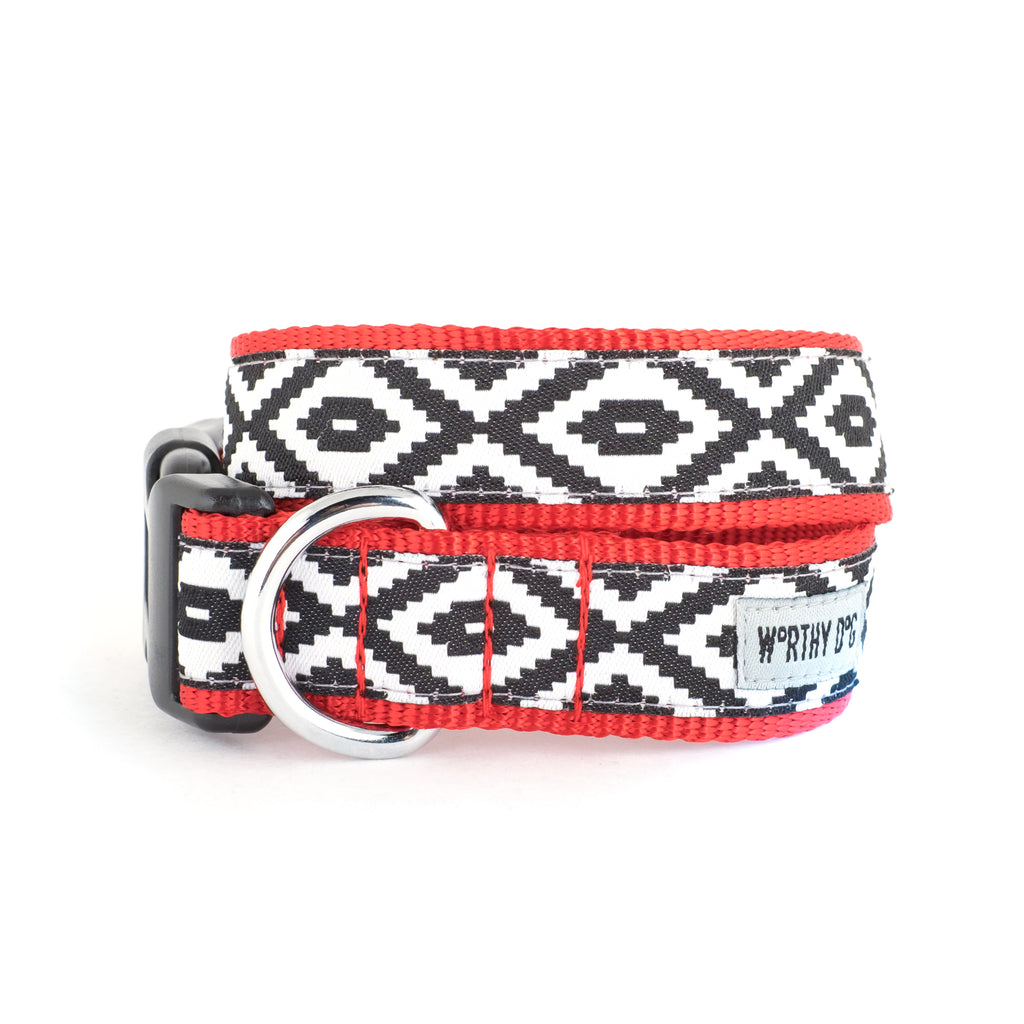 Kilim Native Indigenous Black & White Design Woven Ribbon Nylon Pet Cat & Dog Collar