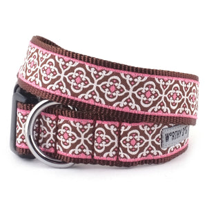 Knightsbridge Girly Pink Woven Ribbon Nylon Durable Premium Nickel-Plated Pet Cat & Dog Collar