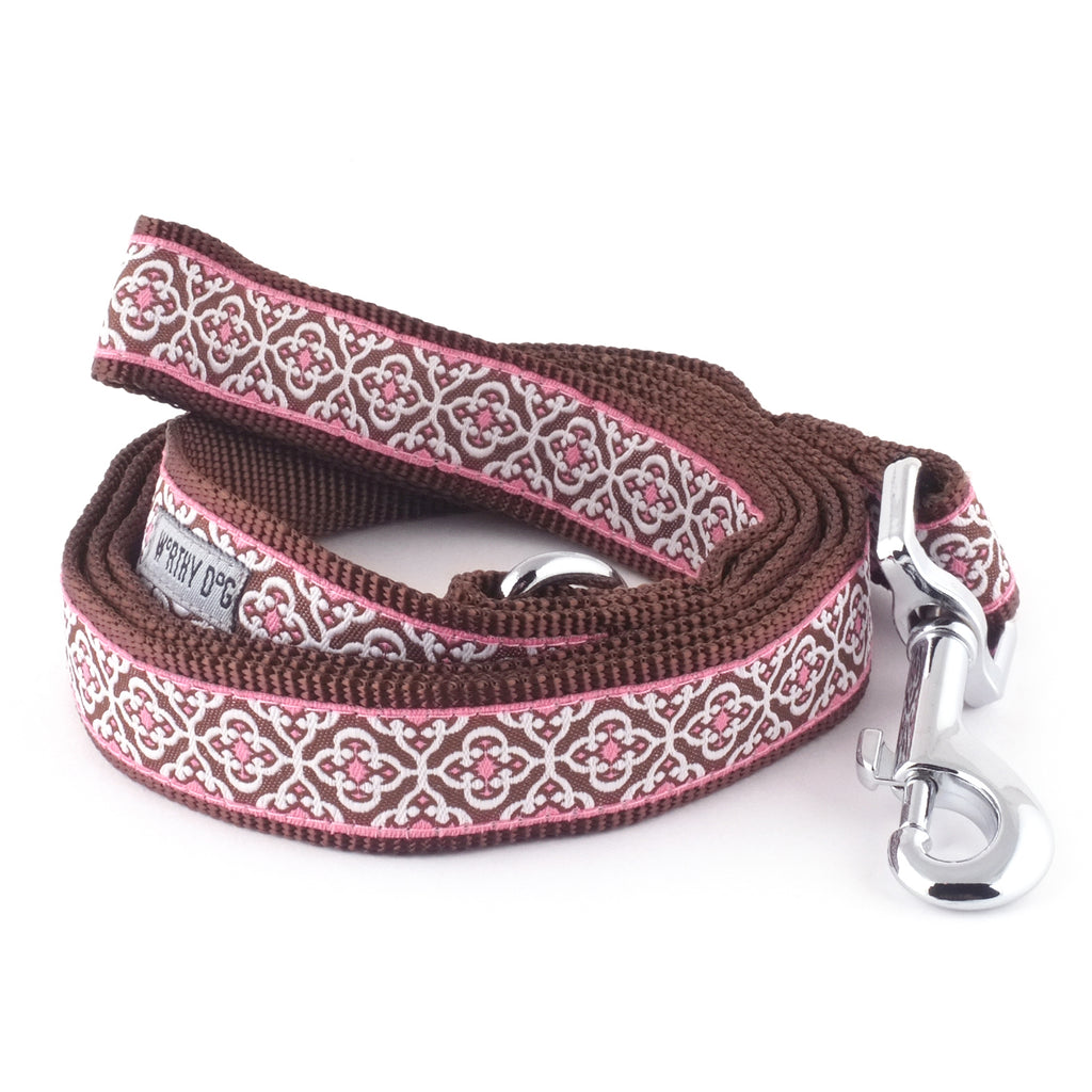 Knightsbridge Girly Pink Woven Ribbon Nylon Nickel-Plated Pet Cat & Dog Leash