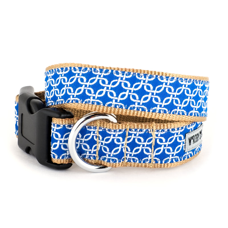 Links Blue Woven Ribbon Nylon Durable Pet Cat & Dog Collar