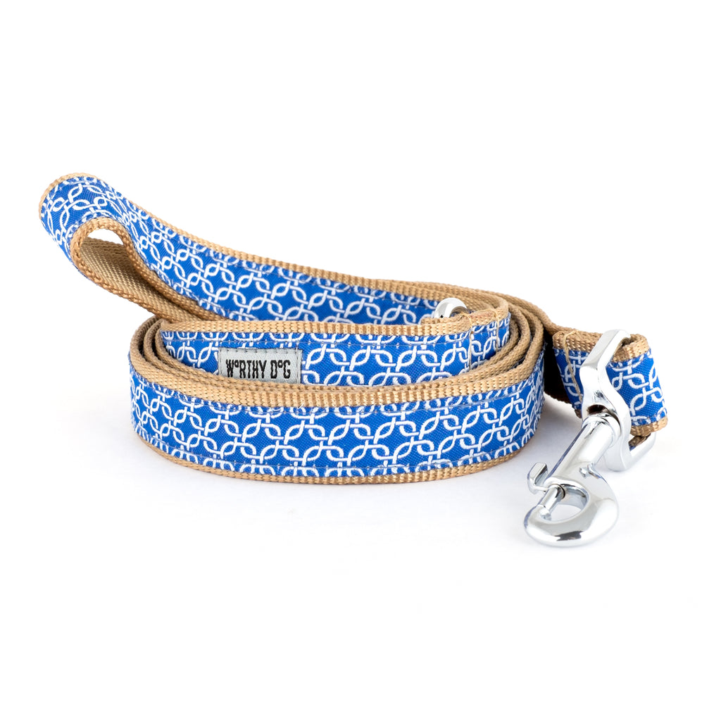 Links Blue Woven Ribbon Nylon Premium Durable Pet Cat & Dog Leash