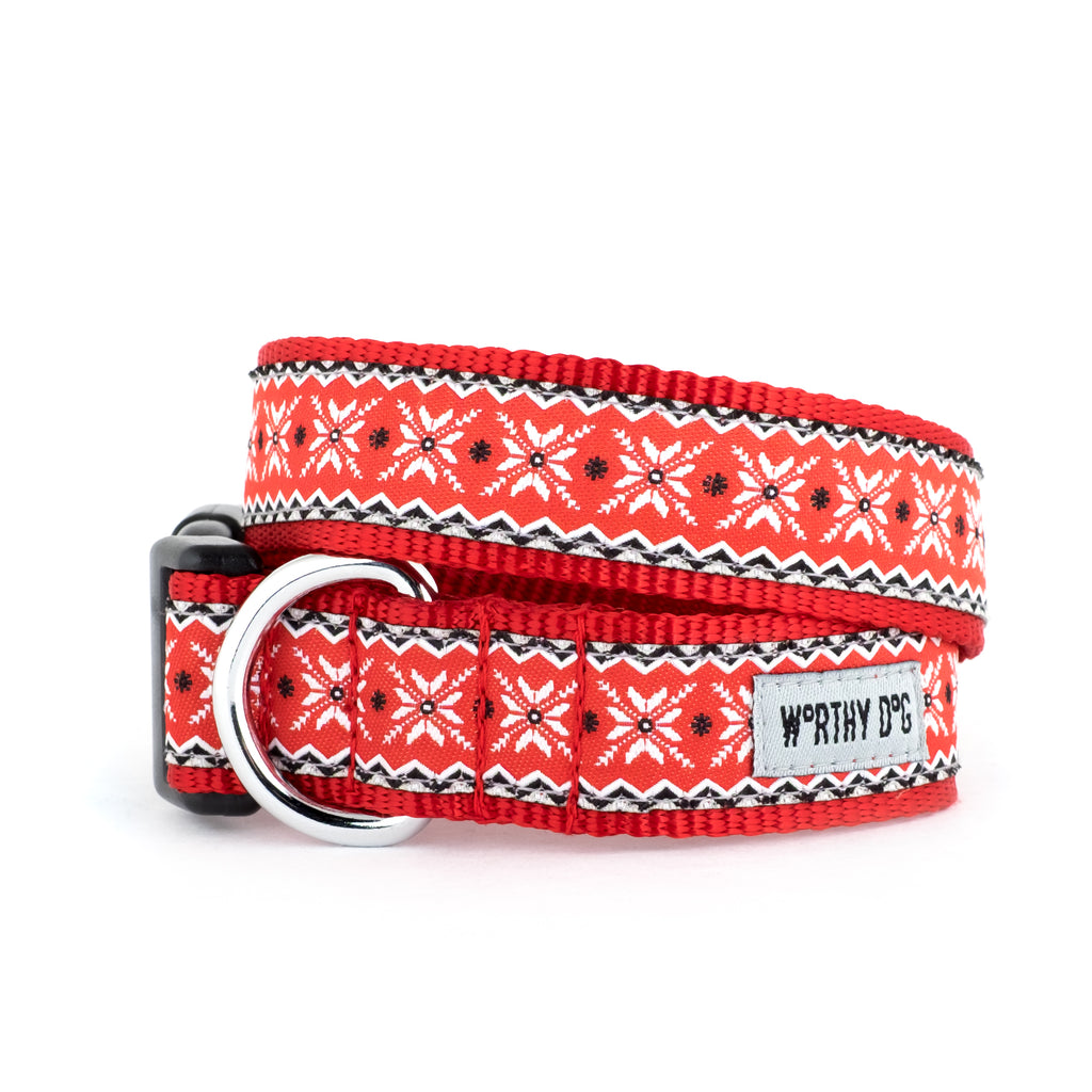 Nordic Snowflake Christmas Holiday Inspired Red Woven Ribbon Nylon Pet Cat & Dog Collar