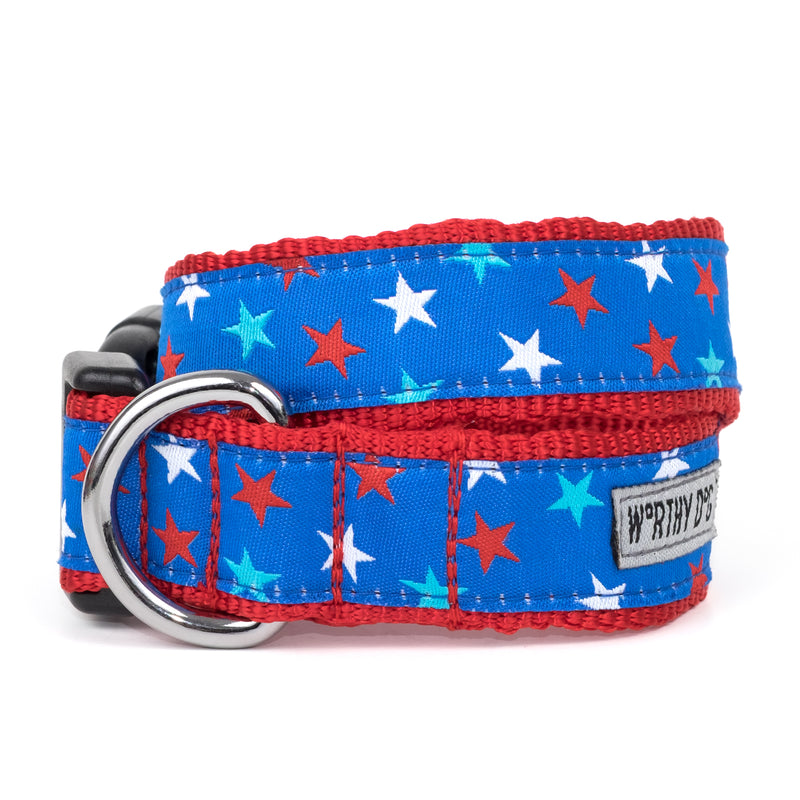 Patriotic Stars USA American Patriotic Woven Ribbon Nylon Pet Cat & Dog Collar