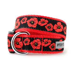 Poppy Fields Black & Red Woven Ribbon Nylon Pet Cat & Dog Collar