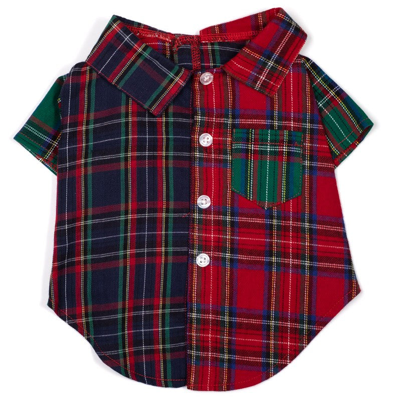 Cotton Print Woven Pet Clothing Designer Dog Shirt - Colorblock Tartan Plaid