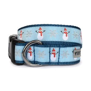 Snowmen Christmas Blue Holiday Woven Ribbon Nylon Durable Pet Cat & Dog Collar