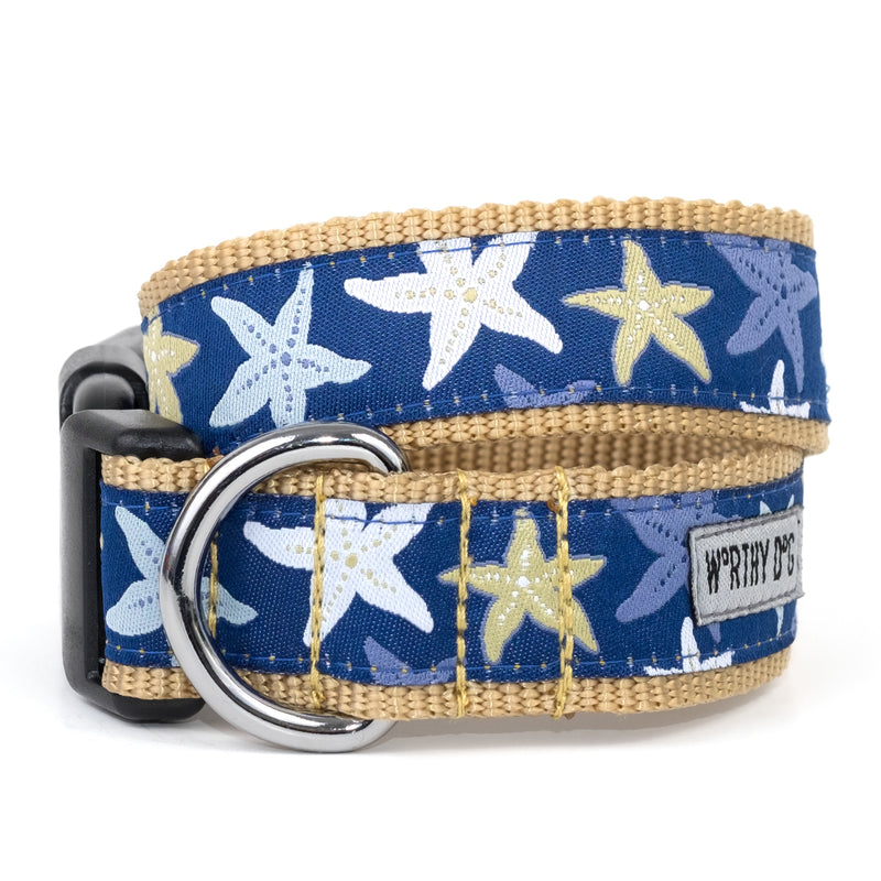 Starfish Ocean Beach Woven Ribbon Nylon Durable Pet Cat & Dog Collar