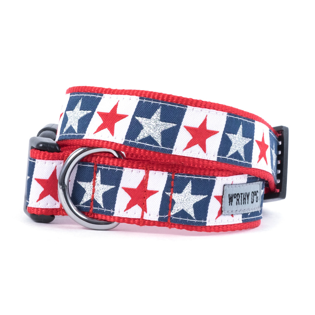 Stars and Stripes USA American Patriotic Woven Ribbon Nylon Pet Cat & Dog Collar