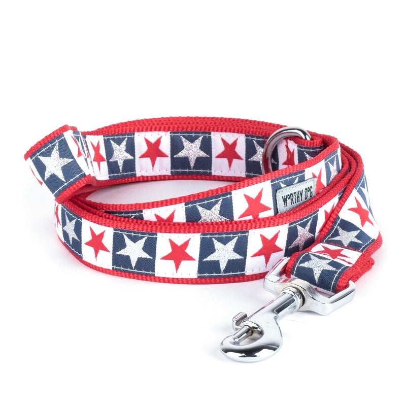 Stars and Stripes USA American Patriotic Woven Ribbon Nylon Pet Cat & Dog Leash
