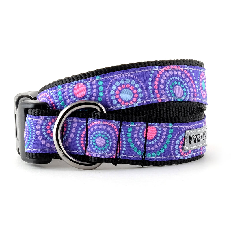 Sunburst Purple Woven Ribbon Nylon Webbing Pet Cat & Dog Collar