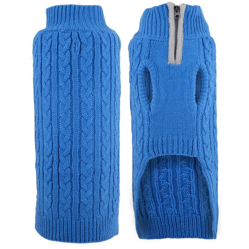 Blue Cable Zip 100% Ultra-Soft Acrylic Warm Turtleneck Double Knit Designer Pet Cat & Dog Sweater