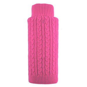 Girly Pink Cable Zip Roll Neck Double Knit Warm Ultra-Soft Turtleneck Designer Pet Dog Sweater