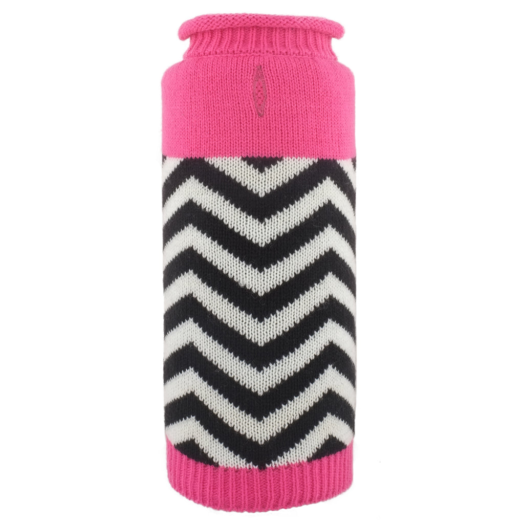 Girly Pup Chevron Pink Double Knit Turtleneck 100% Ultra-Soft Acrylic Designer Pet Dog Sweater