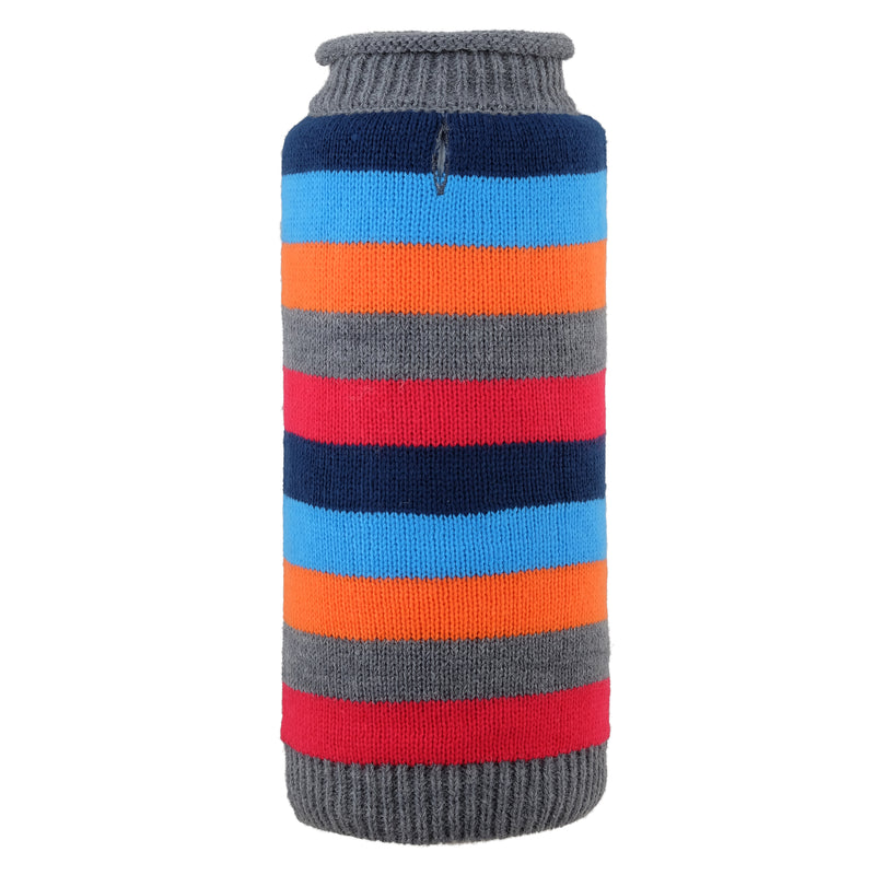 Dapper Stripes Grey Turtleneck 100% Ultra-Soft Acrylic Warm Double Knit Designer Pet Dog Sweater