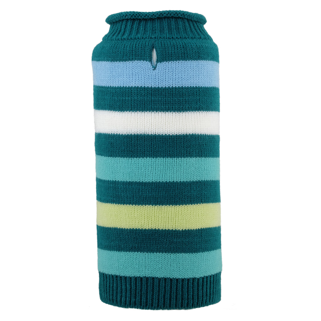 Teal Green Dapper Stripes 100% Ultra-Soft Acrylic Double Knit Turtleneck Designer Pet Cat & Dog Sweater