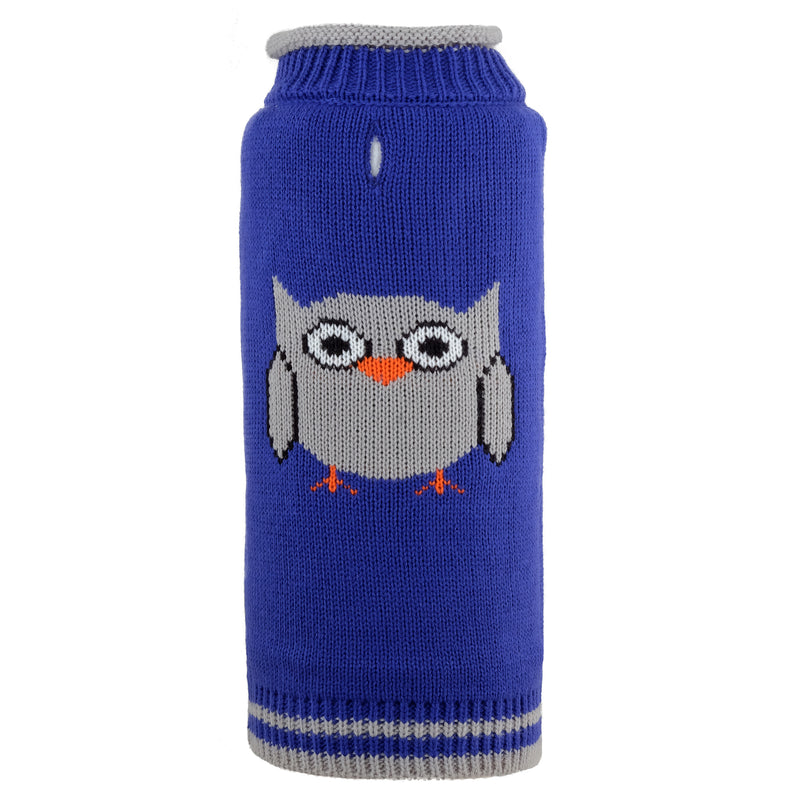 Blue Owl Hoot Hoot 100% Ultra-Soft Acrylic Warm Turtleneck Double Knit Designer Pet Dog Sweater