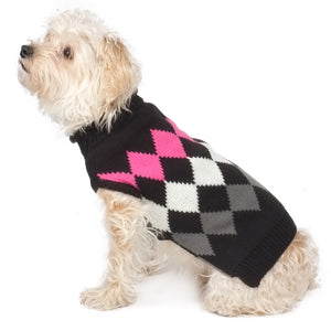 Modern Argyle Black & Pink 100% Ultra-Soft Acrylic Double Knit Designer Turtleneck Pet Dog Sweater