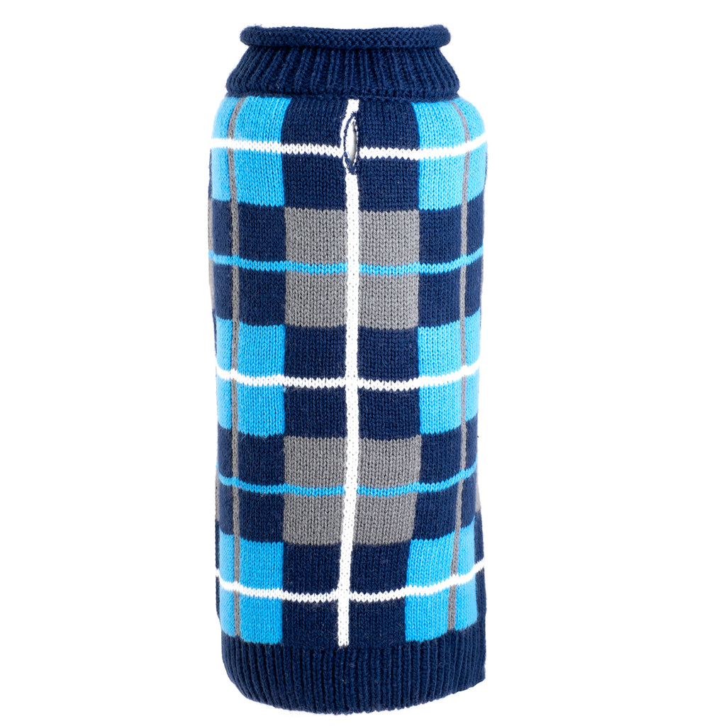 Oxford Blue Navy Plaid Turtleneck 100% Ultra-Soft Acrylic Warm Double Knit Designer Pet Dog Sweater