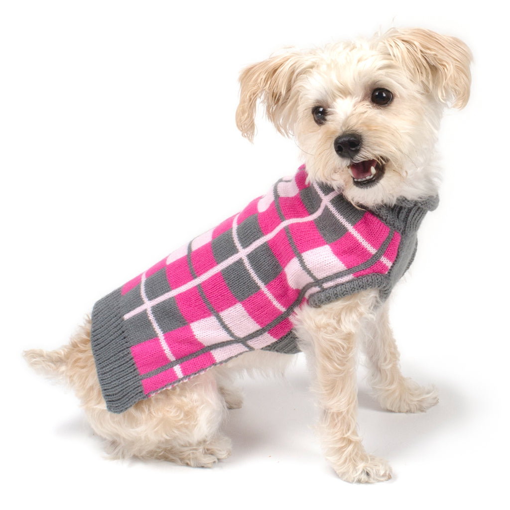 Oxford Pink Plaid Double Knit 100% Ultra-Soft Acrylic Warm Turtleneck Designer Pet Dog Sweater