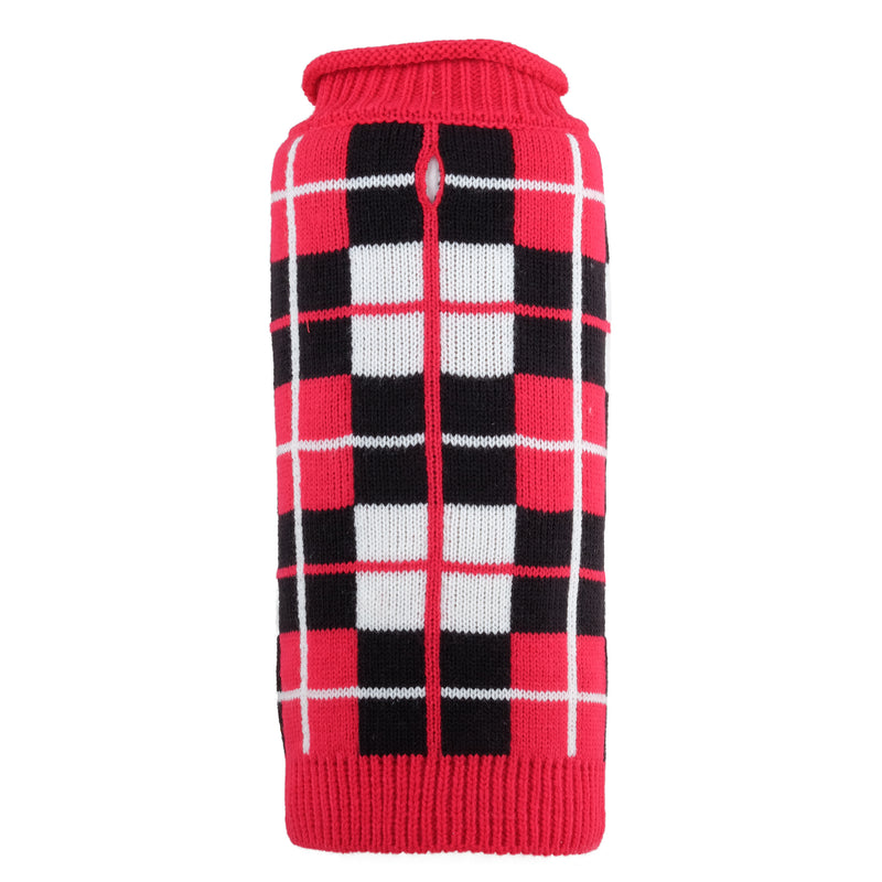 Classic Red Oxford Plaid Ultra-Soft Warm Turtleneck Double Knit Designer Pet Cat & Dog Sweater