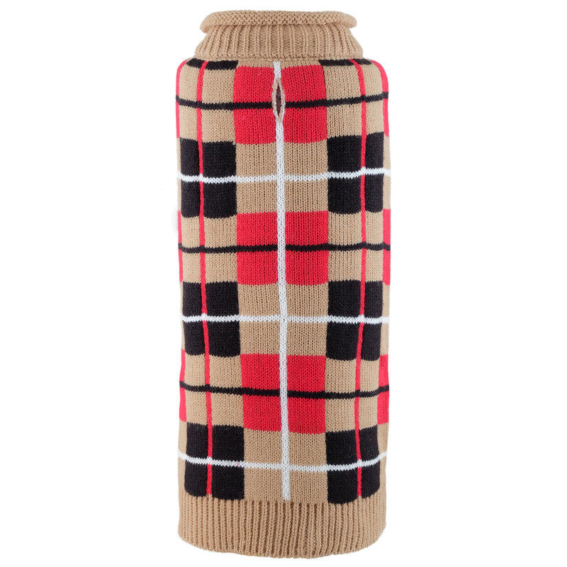 Oxford Tan Plaid Roll Neck Warm 100% Ultra-Soft Acrylic Double Knit Designer Turtleneck Pet Dog Sweater